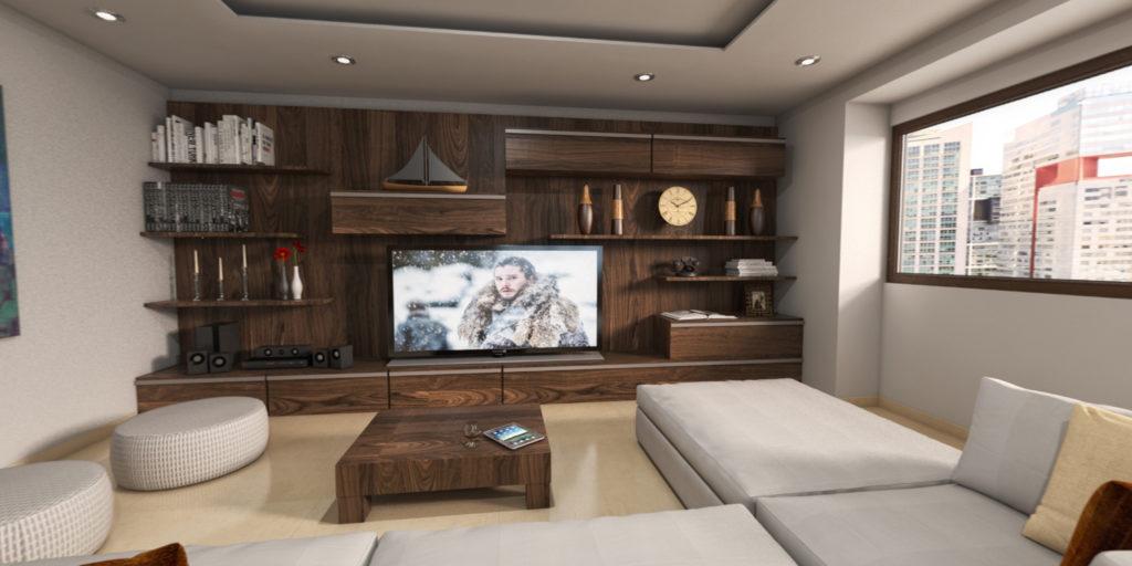 Se diseñaron los interiores para un departamento ubicado en paseos de los Tamarindos, Bosques de las Lomas, a través de la utilización de la realidad virtual se llegó a un acuerdo con el cliente sobre la visualización y ejecución de los interiores.
